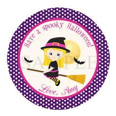 Witch Halloween label - halloween tag - halloween sticker - halloween cupcake topper - halloween party - girl halloween printable