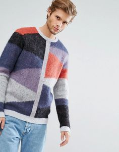 ASOS Mohair Wool Blend Spliced Sweater - Multi