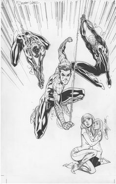 Marvel Secret Wars #1 J Scott Campbell variant cover: Amazing Spider-Man, Mary Jane, May Parker, Miles Morales and Superior Spidey! Comic Art