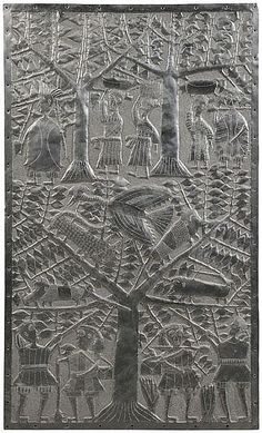 'Figures and Animals Among Trees' by Nigerian artist Asiru Olatunde (1918-1993). Hammered aluminum panel, 54.25 x 32.875 in. via invaluable