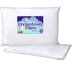 Toddler Pillow by Dreamtown Kids WITH PILLOWCASE For Kids Or Travel- Hypoallergenic (Ages 2-5) Chiropractor recommended for perfect neck safety. 14x19 inches with medium fluff makes the best size & thickness for sleeping in bed, crib, floor, carseat & airplane. Machine Washable, Made in USA, satisfaction guaranteed or your money back!, http://www.amazon.com/dp/B00KWR2BCQ/ref=cm_sw_r_pi_awdm_Cwlmub1WMMCDQ