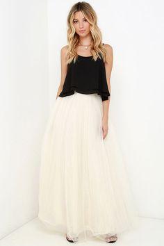 Scoop of Sorbet Cream Tulle Maxi Skirt at Lulus.com!