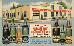 Duffy's Delicious Drinks, Denver, CO. Soda Advertising Postcard, 1930s