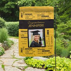 This Personalized Graduation Announcement Garden Flag is so cute! Such a great way to help family and friends find your house for the graduation party! You can personalize it with any 2 school colors, any 2-line message and any photo. Such a cute graduation party decoration too!