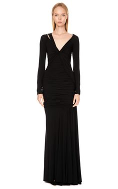 DESIGNER: DONNA KARAN SEE DETAILS HERE:  Long Sleeve One Cold Shoulder Twist Drape Gown