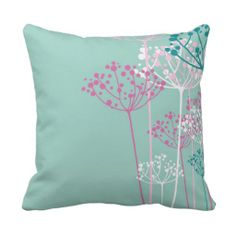Floral Berries and Branches Throw Pillows