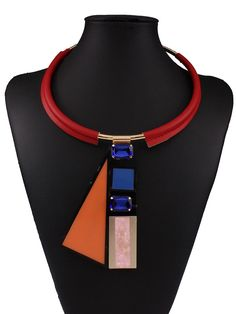 Multicolor Geo Shape Pendant Rhinestone Detail Necklace
