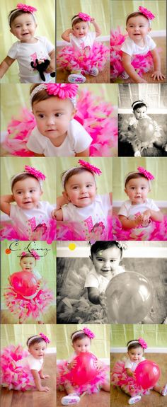 1 year old girl in pink by C. Linz Photography