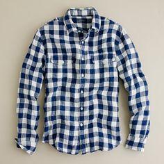 baird mcnutt linen camp shirt in gunnersby gingham (baltic blue) $80
