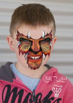 Ann Lyon Monster Monster Face Painting, Dragon Face Painting, Face Painting For Boys, Face Painting Designs, Animal Face Paintings, Animal Faces, Le Face, Face And Body, Christmas Face Painting