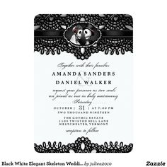 Black White Elegant Skeleton Wedding Together With
