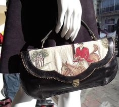 black Horse print handbag, Leather horse purse, horse rider print bag, Womens cross body purse, Unique gift for the holidays, gift for her This lovely purse is handmade from fine leather combined with a horse rider scene tapestry fabric. Very unique and elegant, and perfect for a summer