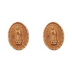 Decadence 14K Gold Diamond-cut Our Lady of Guadalupe Medal Hat Stud Earrings, Women's