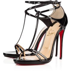Christian Louboutin Benedetta (£610) ❤ liked on Polyvore featuring shoes, sandals, heels, louboutin, christian louboutin, black, t strap shoes, black strappy sandals, black patent leather sandals and strap sandals