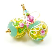 Venetian Murano Aqua Earrings Lampwork Glass Aqua by BeadzandMore, $31.00