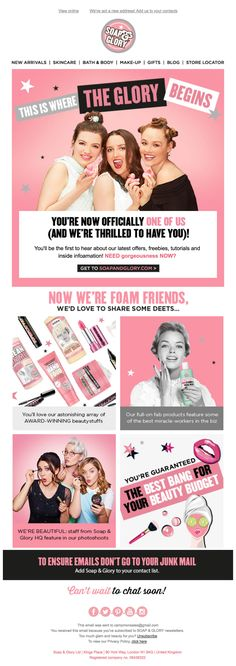 Welcome to Soap & Glory Andrew. Welcome Emails, Email Design, Buy And Sell, Soap, Skin Care, Pink, Ideas, Skincare Routine, Skins Uk