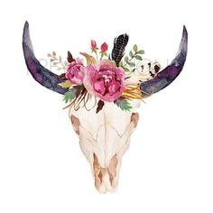Cow Skull, Printable Wall Art, Wall Decor, Feather, Boho, Watercolor,... ❤ liked on Polyvore featuring home, home decor, wall art, blossom wall art, flower home decor, quote wall art, photo wall art and flower wall art