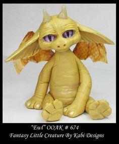 Art Doll Polymer Clay Fantasy Yellow Dragon by KabiDesigns on Etsy
