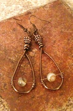 Copper Wire Wrapped Earrings by GrecoGirlJewelry on Etsy, $8.50
