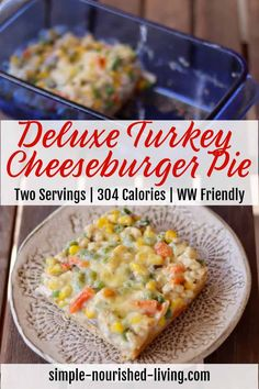 This lighter healthier impossibly easy cheeseburger pie using Bisquick baking mix is a new favorite - It's a delicious two serving casserole with 304 calories, Weight Watchers SmartPoints: 7 (Green) 6 (Blue, Purple) Impossibly Easy Cheeseburger Pie, Bisquick, Casserole, Turkey, Baking, Peru, Bread Making, Patisserie, Backen