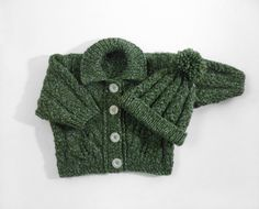 Hand Knitted Baby Cardigan and Hat  Green 6  12 by SasasHandcrafts