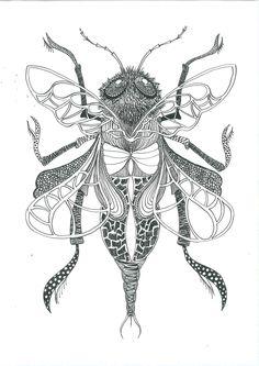 Opdracht voor in de brugklas. Symmetrisch insect maken met kroontjespen en Oost-Indische inkt. Decoratief te werk gaan door verschillende arceringen en patronen te maken.   Motto 'beter goed gejat, dan slecht bedacht'.   Zelf doe ik graag mee in de les. Pure ontspanning, maar natuurlijk ook om te laten zien wat allemaal mogelijk is. Wanneer ik rustig aan het werk ben, merk ik dat mijn leerlingen ook rustiger aan het werk gaan.   Dit is mijn insect, gemaakt tijdens de lessen BV 2013-2014.