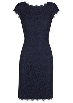 Diane von Furstenberg midnight blue lace dress Scalloped eyelash trims,�cap sleeves, fully lined Exposed zip fastening through back 70% rayon, 30% nylon; lining: 88% viscose, 12% silk