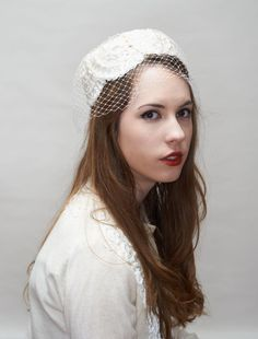 Darling 1960's White Straw Pillbox Hat with by LauraDarlingDeluxe, $10.00