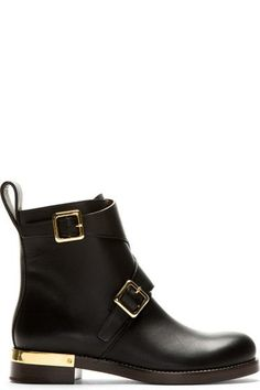 666fc5013 Chloé Black Leather Ankle Boots Buffed leather ankle boots in black. Two  adjustable straps .