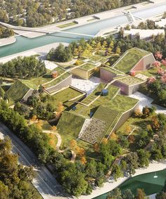 MVRDV plans landscape of buildings topped with green roofs for zhangjiang future… - Architecture Architecture Durable, Plans Architecture, Green Architecture, Concept Architecture, Sustainable Architecture, Architecture Design, Architecture Symbols, Landscape Model, Landscape Architecture Drawing