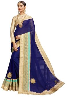 ae9bc0b6313fc Home    Fashion    Ethnic Wear    Women    Sarees    Blue colored georgette  saree. Grocery ItemsGeorgette SareesOnline DealsDiwaliSarees OnlineIndian  ...