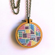 Geometric Necklace. Hand Embroidered. Cross stitch. by hummingpea
