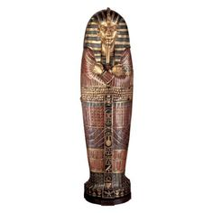 Make your library or den impressive by adding the Design Toscano King Tutankhamen Life-Size Sarcophagus Cabinet . This majestic cabinet is hand-carved. Shelf Furniture, Hand Painted Furniture, Living Furniture, Handmade Furniture, King Tut Sarcophagus, Egyptian Decorations, Statues, Egyptian Furniture, Shopping Catalogues