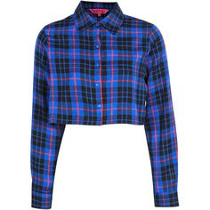 Boohoo Piper Crop Checked Shirt ($14) ❤ liked on Polyvore featuring tops, shirts, crop tops, plaid, blue checkered shirt, crop shirts, sleeve crop top, checked shirt and checkered shirt