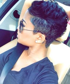 short hair with pixie look for black girls, short hairstyle, pixie hairstyle