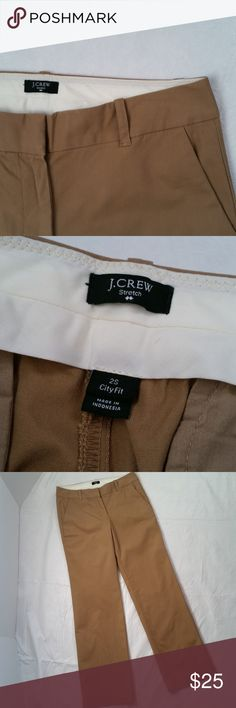 "J. Crew khaki dress pants--size 2 Short (161) Dressy and professional dark khaki dress pants by J. Crew  Dark khaki color light stretch City Fit style 2 front pockets; 2 back pockets hook/zip closure 98% cotton/2% spandex  EUC!  Flawless condition!  size 2 Short  Approximate measurements: 15"" across relaxed waist 8.5"" rise 31"" inseam J. Crew Factory Pants Trousers"