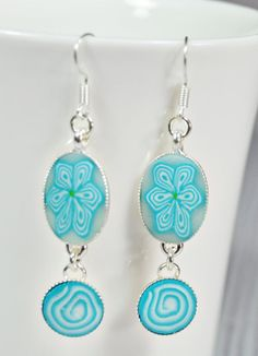Turquoise silver plated polymer clay drop earrings by NuritNaor, $17.00