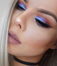 Eyeshadow Looks Blue Purple & Orange Sunset Look ♡♡ Blauer lila u. Purple Makeup Looks, Blue Eyeshadow Looks, Orange Eye Makeup, Dramatic Eye Makeup, Colorful Eye Makeup, Makeup For Green Eyes, Pretty Makeup, Makeup Glowy, Orange Eyeshadow