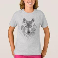 Watercolor Gray Wolf T-Shirt - beauty gifts stylish beautiful cool