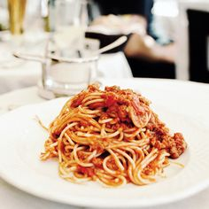 Bucatini All'Amatriciana. Add a little heavy cream and parmesan cheese to the sauce for a creamy red sauce. Delicious.