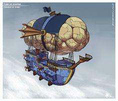 Fond du gouffre #2 - Air ship by Gromy.deviantart.com on @deviantART
