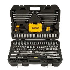 Comfort and durable, this DEWALT Mechanics Tool Set is ideal for the Professional on the job that wants to get the job done right. Home Tools, Diy Tools, Dewalt Tools, Hand Tool Sets, Mechanic Tools, Power Tool Accessories, Hex Key, Wrench Set, Hex Wrench