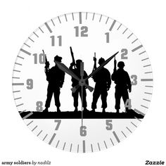 """army soldiers large clock, Style: Round (Large) It's time to show off your favorite art, photos, and text with a custom round wall clock from Zazzle. Featured in two sizes, this wall clock is vibrantly printed with AcryliPrint®HD process to ensure the highest quality display of any content. Order this custom round wall clock for your walls or give to friends and family as a gift for a timeless treasure.  2 sizes: 8"""" diameter (medium) or 10.75"""" diameter (large). Material: Grade-A acrylic. On"""