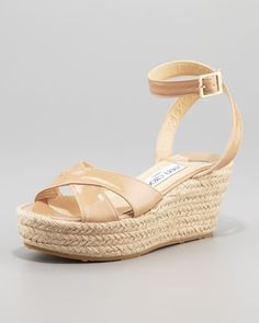 Pepper Patent Leather Espadrille Wedge Sandal, Nude by Jimmy Choo at Neiman Marcus.