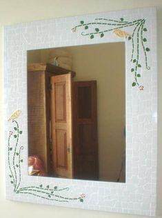 Espelho mosaico ramos folhagens pássaros