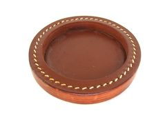 Vintage Wood and Leather Coaster Set by DelicateCreations on Etsy