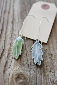 Blue and Green Feather Porcelain Earrings  Long by tashamckelvey, $28.00 on etsy