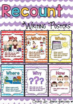 Recount Writing Prompt Posters More