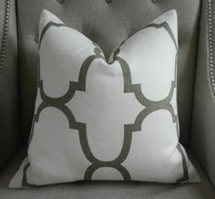 Decorative Designer Pillow Cover - 18X18 - Windsor Smith for Kravet  - Riad print  in Coconut - Pattern on the front. $60.00, via Etsy.