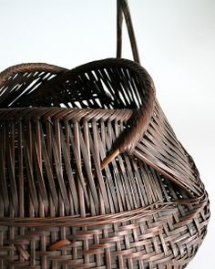 Detail; Bamboo Flower Basket with Handle; H40cm x W30cn, no signature. The materials and techniques used to create this basket remin...